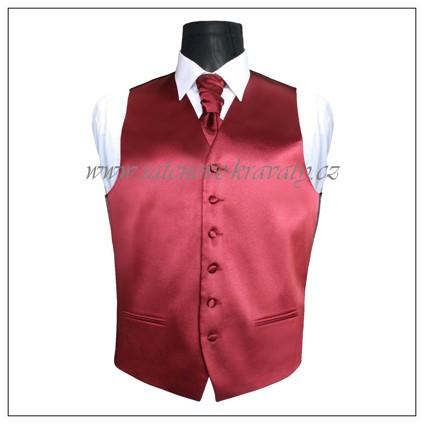 Pánská vesta vínově červená